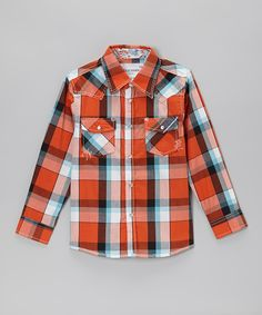 This Orange & Aqua Plaid Embellished Button-Up - Toddler & Boys by STAR BOUTIQUE is perfect! #zulilyfinds