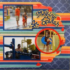 """Pool scrapbook page with a title """"Making a Splash"""" from Cricut Sports Mania… Vacation Scrapbook, Kids Scrapbook, Disney Scrapbook, Scrapbook Paper, Scrapbook Sketches, Scrapbook Page Layouts, Photo Layouts, Digital Scrapbooking, Scrapbooking Ideas"""