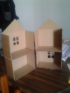 The first step, I've cut a carton and made the rooms