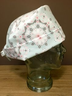Soft Mint & Pink Floral Surgical Scrub Hat, Beautiful Women's Floral Scrub…