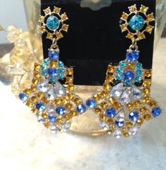 NEW Chandelier Gold & Blue CZ and Crystal Statement Dangle Earrings #JewelStorie #Chandelier
