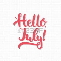 Hand drawn typography lettering phrase Hello, july isolated on the white background with small line crosses. Fun calligraphy for typography greeting and invitation card or t-shirt print design. photo