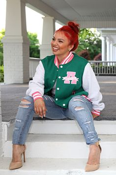 Tired of the traditional Alpha Kappa Alpha jackets  We are too! This  varsity jacket f7dd869f6