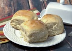 Three Old-fashioned Soft And Buttery Yeast Rolls On A Plate. Yeast Rolls, Bread Rolls, Bread Recipes, Cooking Recipes, Catering Recipes, Pastry Recipes, Cooking Ideas, Food Ideas, Buttery Rolls