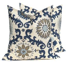 Decorative Throw Pillows Blue Pillow .Blue Tan by EastAndNest, $17.00