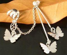 Silver Butterfly Pierced Ear Cuff  Chain Earring Cheap Jewelry  LM-C102