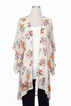 Our Garden Gal Cardigan is the ideal lightweight piece for this season! An open front cardigan with kimono sleeves. Take this cardigan in a different direction by wearing it over cut off shorts and a cropped top!