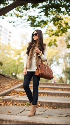 Love this fur vest outfit