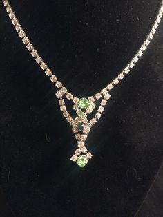 Vintage Green Clear Rhinestone Necklace Prom Adjustable Prong Set