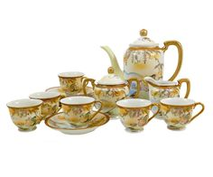 Fairy Land Tea Set China Hand Painted Japan Teapot, Sugar, Creamer, Demitasse Cups, Cup, Saucer, Vintage 1920 Coffee Pot - pinned by pin4etsy.com