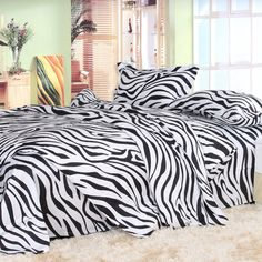 Black And White Black Zebra Print Bedding Set