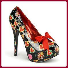 Sacred Heart Print Platform Pumps by Pinup Couture Shoes. Closed toe Pinup  Couture cheetah print platform pumps with big satin ribbon, high heel, ... d17336cec2