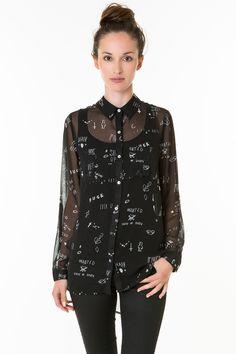 #stylish #black scribble print #sheer #shirt #party #outfit #TALLYWEiJL http://www.tally-weijl.net/p/sale/schwarze-statement-bluse-in-chiffon-optik/chpolstom1-blk001?searchTerm=black%20shirt