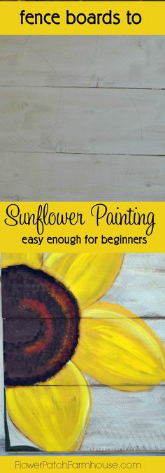 How to paint an easy Sunflower, super fun and simple to do. Paint on inexpensive fence boards for fabulous garden art or hang indoors!