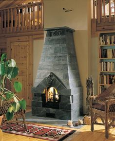 Custom Herman Tulikivi Soapstone Fireplace for comfortable and healthy home heating from Mid-Atlantic Masonry Heat Inglenook Fireplace, Stove Fireplace, Cabin Homes, Log Homes, Soapstone Stove, Stairs Window, Sauna Design, Architectural Features, Stone Flooring