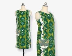 Vintage 60s Hawaiian DRESS / 1960s Green by LuckyDryGoods on Etsy