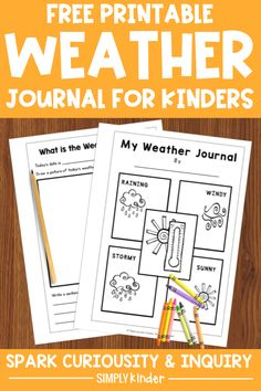 Grab our FREE printable weather journals are a perfect way to introduce Kindergarten students to scientific observation and data collection! Easy to prepare and use. Your Kindergarten students will love watching and recording the weather each day. Includes word bank, tally sheet and graphing page. pages from weather journal Teaching Kindergarten, Preschool, Teaching Weather, Weather Lessons, Weather Unit, Data Collection, Lesson Plans, Free Printables, Journals