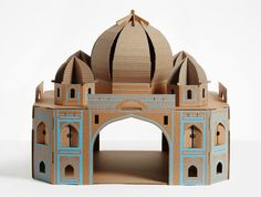 The Taj Mahal in india, a Cardboard Landmark Play House for Cats by Poopy Cat. Cat Playhouse, Cardboard Playhouse, Cardboard Crafts, Cardboard Boxes, Famous Buildings, Famous Landmarks, Taj Mahal, Tour Eiffel, Cardboard Cat House