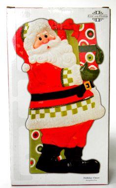 Fitz and Floyd Santa Holiday Cheer Elongated Serving Tray 11 in L Santa Claus #FitzandFloyd