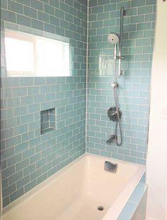 Bathroom glass subway tile design ideas pictures remodel for Brammer kitchen cabinets