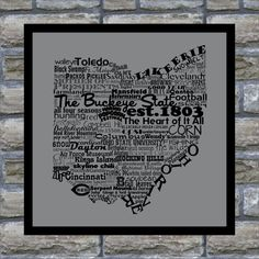 """The Buckeye State. This print is all things Ohio. From Cleveland and Cedar Point to skyline chili and The Wilds. OHIO! The Heart of it ALL! Print measures 8.5"""" x 11"""". Please contact us for any custom"""