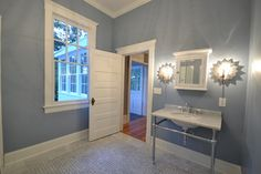 Bathroom Dentil Molding Design Ideas, Pictures, Remodel, and Decor - page 3 - love the moulding above window.  Great color on walls and love the starburst lights.