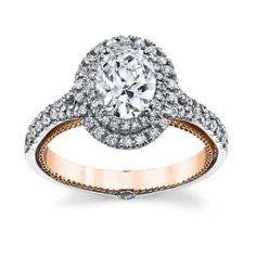 Verragio 18K White and Rose Gold Diamond Engagement Ring Setting