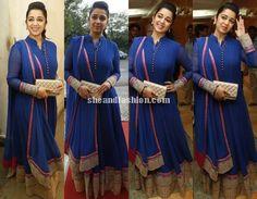 Charmi in blue floor length anarkali for Jyothi Lakshmi movie promotions