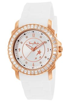 Thierry Mugler Watches Women's White Rubber Silver-Tone Dial Crystal Bezel 4718004,    #ThierryMugler,    #4718004,    #Casual