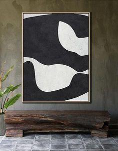 Black and white abstract art minimalist painting on canvas #MN24B, modern art by CZ ART DESIGN @CelineZiangArt