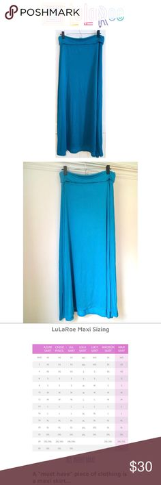 B1G1 50% Off LulaRoe* LuLaRoe Maxi 60% Modal, 40% Polyester. NWOT. Color is a bit more of a turquoise than a blue in person. Buy One LuLaRoe item, Get One LuLaRoe item 50% Off! Lowest price item is 1/2 Off. LuLaRoe Skirts Maxi