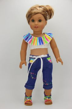 Handmade 18 inch doll clothes - Rainbow and denim summer top and capris (913)