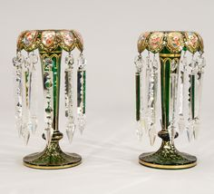 Moser Green Lusters, circa 1880