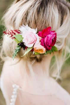 pink flower hair accessory - photo by Annmarie Swift Photography http://ruffledblog.com/autumn-orchard-romance-inspiration-shoot