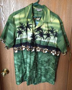 Blue Hawaii Brand Men's Hawaiian Shirt Large Made In Hawaii