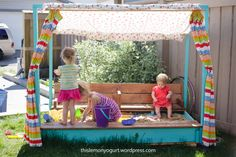 Sandbox, stage, and puppet theatre all-in-one, and the lid folds into benches.  Love this take on Ana White's sandbox.