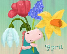 This month our calendar illustration has a spring theme. For more: www.facebook.com/loezelot