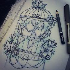 Love birds for Pauline  #tattoo #design #lovebirds #neotraditional #birdcage…