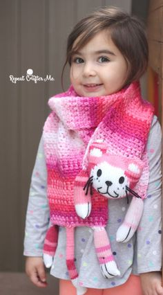 Caron Critters Crochet Cat Scarf - Repeat Crafter Me
