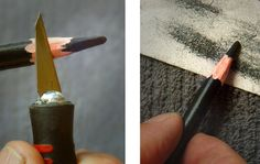 Sharpening charcoal pencils
