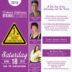 """Ladies, this Saturday, April 18 at 10AM, join your sisters in Christ for a day about YOU at our 2015 Women Under Construction Conference """"It's All About You.""""   Receive a dynamic Word of God from Cheryl Price, anointed music ministry by Danielle Keys, Praise & Worship Leader at Life of Victory Church in Oxnard and FREE bargains at """"My Sister's Closet.""""  For more information, please email bbyndon@faithdome.org today."""
