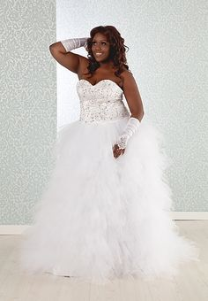Fairy-tale plus size wedding ball gown will grant you princess for the day access! www.realsizebride.com