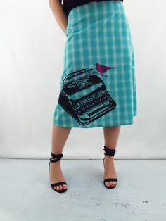 Detail of Typewriter on Turquoise Plaid A-Line Skirt by Angie's Sweatshop angiessweatshop.com