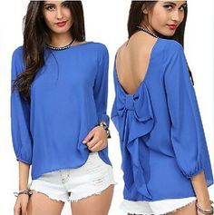 Backless bow embellished chiffon blouse, nice.