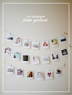 Create your own DIY Instagram Photo Garland using polaroid style prints, string and mini wooden pegs. Great for decorating a rented flat or student halls!