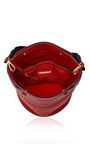 This shoulder bag by **Marni** is rendered in calf leather and features a thick woven nylon strap and detachable wallet.