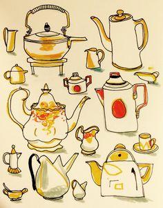 Tea or coffee? By Marie Åhfeldt - Mås Illustra.