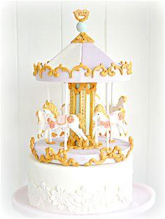 Pastel Carousel Cake | Chérie Kelly (unicorn birthday cakes gold)