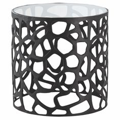 Limited Production Design: Modern Abstract Art Side Table * Matte Black * H: 22 Dia: 22 inches * Partner Tables, Pendants, Lamps & Decoratives Available