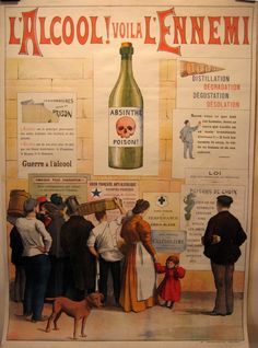 """Absinthe Posters – Le Musée Virtuel de l'Absinthe.     """"Alcohol, Here is the Enemy!"""" poster by artist and missionary Frédéric Christol in 1910."""